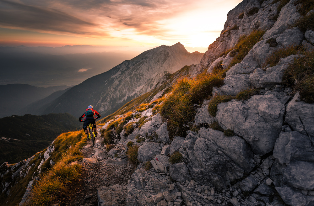 A piece of fine art art photography titled Sunset High Alpine Ride by Sandi Bertoncelj