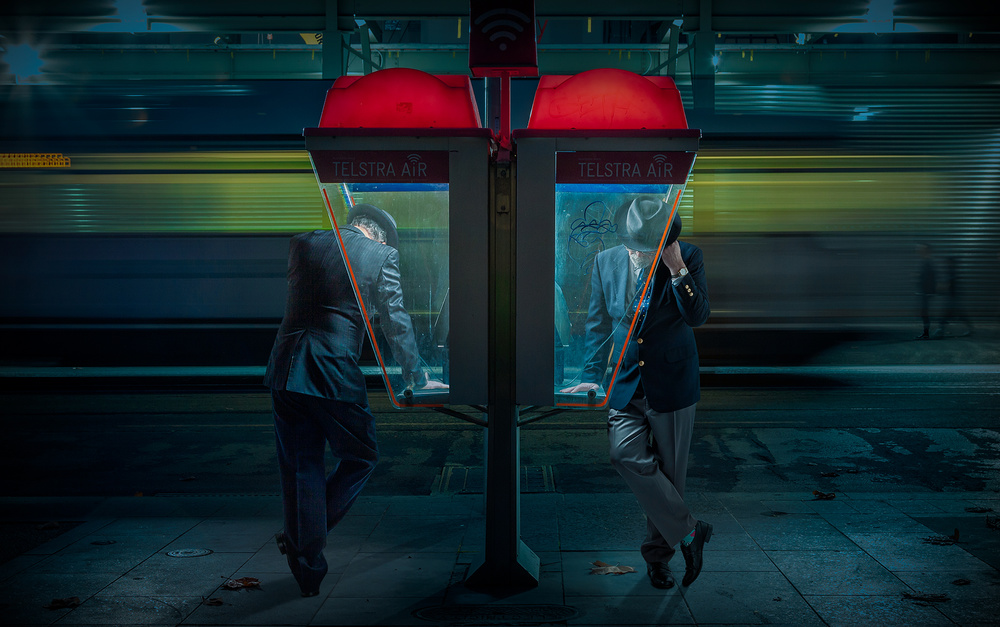 A piece of fine art art photography titled Telephones by Adrian Donoghue