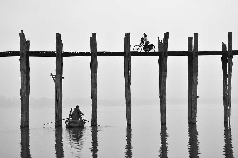 A piece of fine art art photography titled U Bein Bridge (Myanmar) by sarawut intarob