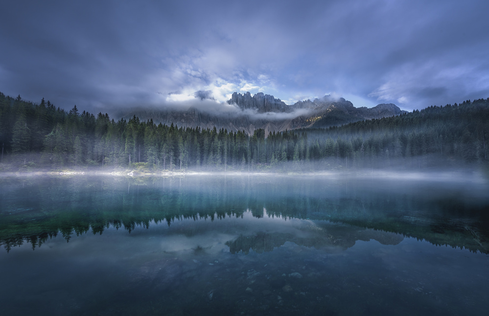 A piece of fine art art photography titled Mirror Lake by Larry Deng