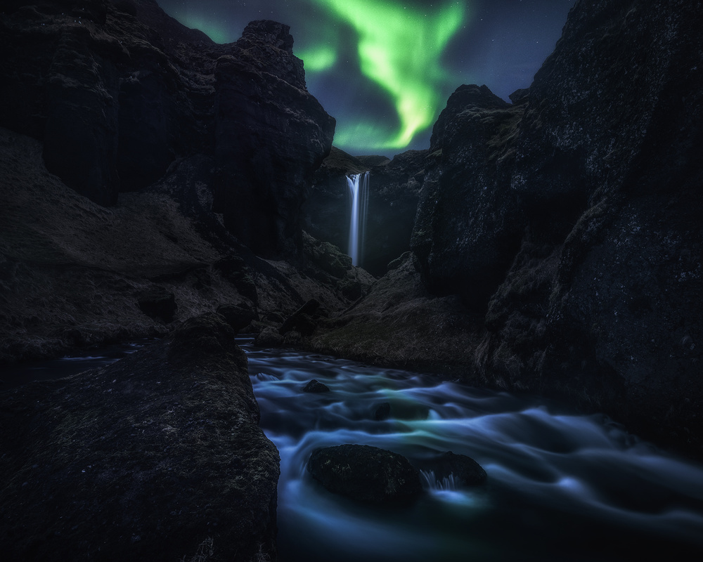 View this piece of fine art photography titled Kvernufoss at Night by Daniel Fleischhacker