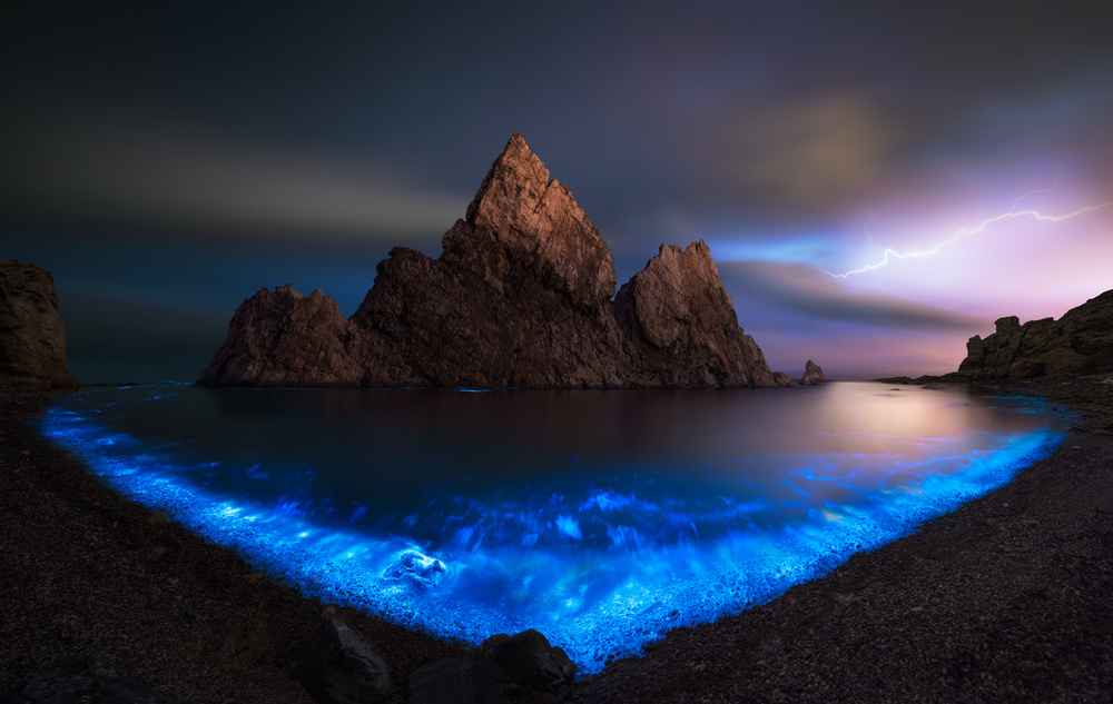 A piece of fine art art photography titled Fluorescent Sea by Shanyewuyu