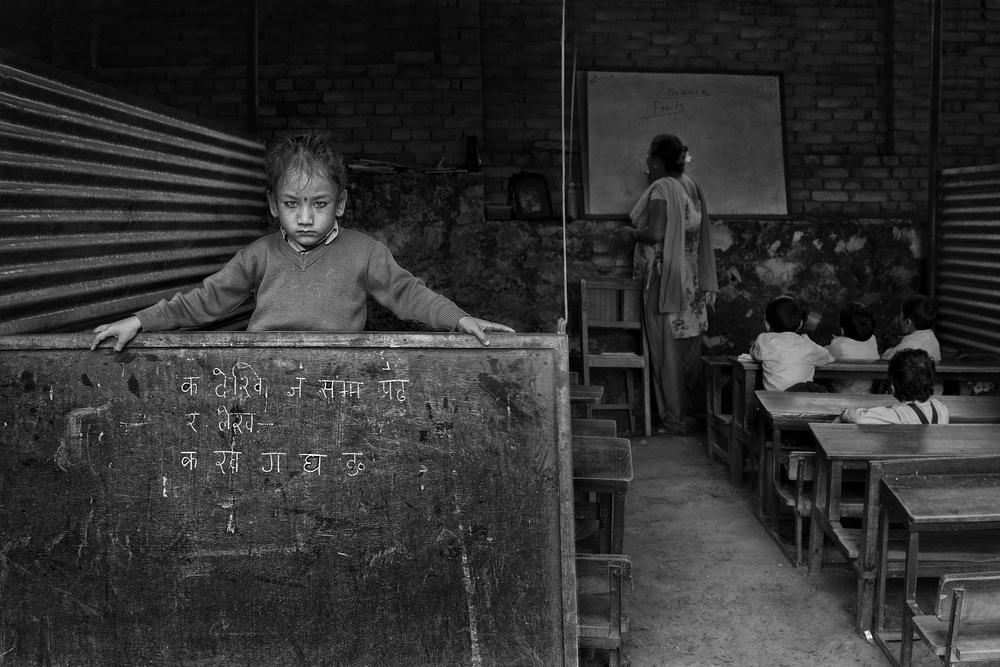 A piece of fine art art photography titled Girl In School by Haitham AL Farsi