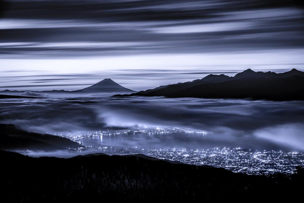 A piece of fine art art photography titled Dawn In Blue (blue Ink Version): by Takashi