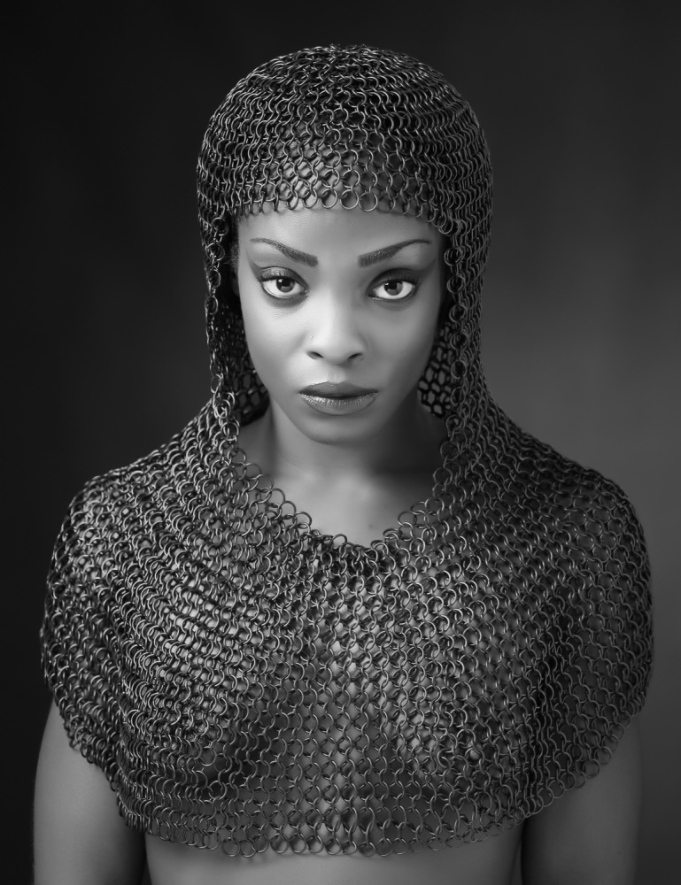 A piece of fine art art photography titled Chainmail Lady by Ross Oscar