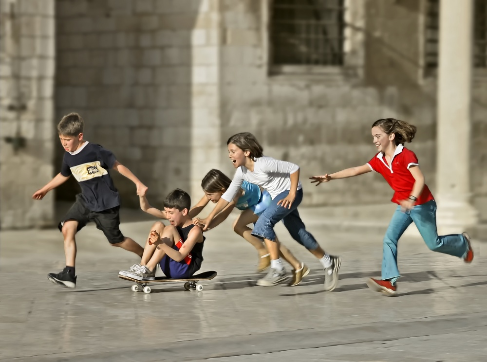 A piece of fine art art photography titled Children Playing In Dubrovnik by Herbert A. Franke